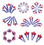 Fireworks, salute in traditional colors USA set of elements for your design. America s Independence Day, July 4, concept Stock Photography