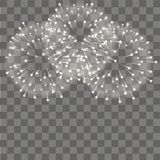 Fireworks salute on transparent background. Vector.  Royalty Free Stock Photos