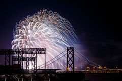 Fireworks at San Francisco-Oakland Bay Bridge Royalty Free Stock Photos