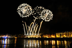 Fireworks in San Sebastian - august 2011 Royalty Free Stock Photo