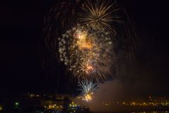 Fireworks in San Sebastian in the Basque country Stock Images
