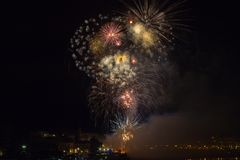 Fireworks in San Sebastian in the Basque country Royalty Free Stock Images