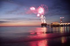Fireworks at sea. Fireworks at the beach Royalty Free Stock Image