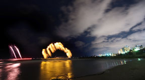 Fireworks at sea. Fireworks over sea in Tel Aviv Stock Photography