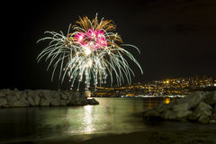 Fireworks at sea Royalty Free Stock Images