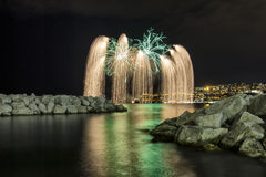 Fireworks at sea 2 Royalty Free Stock Photography