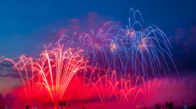 Fireworks. At the sea in france royalty free stock images