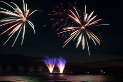 Fireworks at the sea at night stock photo