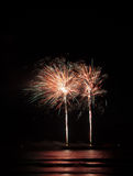 Fireworks at the sea at night Stock Image