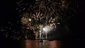 Fireworks at Sea during the Night