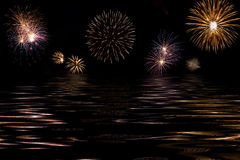 Fireworks  and sea Royalty Free Stock Photo