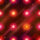 Fireworks, seamless. Firework background seamless of red, orange and pink colors. Pattern for holiday design Royalty Free Stock Photography