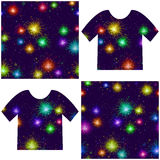 Fireworks, seamless. Firework Seamless Background of Various Colors on Dark Night Sky, Colorful Tile Pattern for Holiday Design, Presented in Tank Tops. Vector Stock Photography