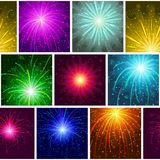 Fireworks, seamless. Seamless holiday background with fireworks of various colors and shapes. Pattern for web design, split into separate parts. Eps10, contains Stock Photo
