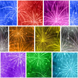 Fireworks, seamless. Seamless Holiday Background with Fireworks of Various Colors and Shapes. Pattern for Web Design, Split into Separate Parts. Eps10, Contains Royalty Free Stock Photo