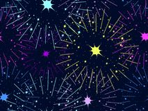 Fireworks seamless pattern. Festive background. Vector Stock Photography