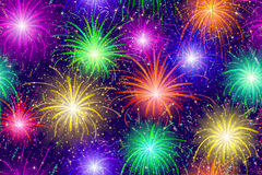 Fireworks Seamless Pattern. Firework Background Seamless of Various Colors. Pattern for Holiday Design. Eps10, Contains Transparencies. Vector Royalty Free Stock Images