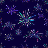 Fireworks seamless pattern. A  illustration of a seamless pattern with a set of different colored fireworks in the dark sky with stars and sparks. Each firework Stock Photography