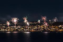 Fireworks at seaside panorama view royalty free stock photos