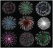 Fireworks set. Set of different fireworks on black background Royalty Free Stock Image