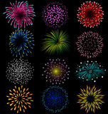 Fireworks set on black background Stock Photography