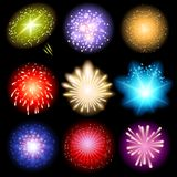 Fireworks set. Bright fireworks set over black background Stock Photos