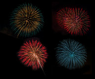 Fireworks set in celebration night Stock Image