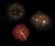 Fireworks set in celebration night Royalty Free Stock Photos