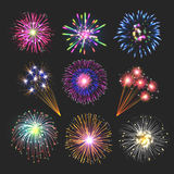 Fireworks set. Collection of nine firework images on black background Stock Photos