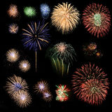 Fireworks. Set of colorful fireworks effects Royalty Free Stock Photography