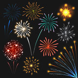Fireworks set colorful explosions, realistic style Royalty Free Stock Photo