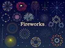 Fireworks set. Fireworks festival pattern background set stock illustration