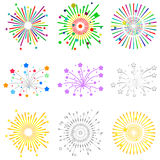 Fireworks, a set of fireworks, salute. Flat design,  illustration Stock Photos