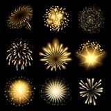 Fireworks set. Golden fireworks set over black background Royalty Free Stock Photos