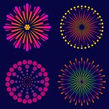 Fireworks, set of  icons. Fireworks, a set of bright  icons. Explosive salute in the festive sky Royalty Free Stock Photography