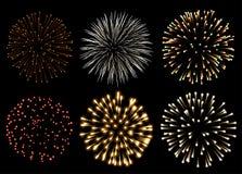 Fireworks set. Set of fireworks isolated onblack Stock Photo