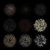 Fireworks set. New Year celebration. Festive night decoration, design element. Vector isolated illustrations on black. Background Stock Image