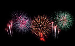 Fireworks set. New Year celebration fireworks. Royalty Free Stock Image