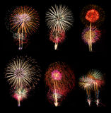 Fireworks set of six picture Royalty Free Stock Images