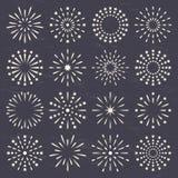 Fireworks set. Fireworks, starburst, sunburst, sunrays collection set on dark background Royalty Free Stock Photo
