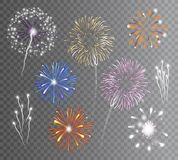 Fireworks Set Transparent. Realistic carnival multicolored firework explodes on transparent background isolated vector illustration Royalty Free Stock Photo