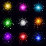 Fireworks, set. Set of various bright celebratory fireworks, color elements for holiday web design,  on black background Royalty Free Stock Photography