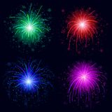 Fireworks, set. Set of various bright celebratory fireworks, color elements for holiday web design,  on black background. Eps10, contains transparencies Royalty Free Stock Photos