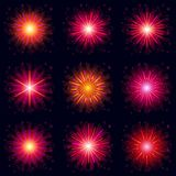 Fireworks, set. Set of various bright celebratory fireworks, color elements for holiday web design,  on black background. Eps10, contains transparencies Stock Image
