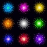 Fireworks, set. Set of various bright celebratory fireworks, color elements for holiday web design, isolated on black background. Eps10, contains transparencies Royalty Free Stock Photos