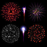 Fireworks set. In vector on black background Stock Photography