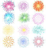 Fireworks set on white background. Fireworks vector set on white background Royalty Free Stock Photo