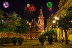 Fireworks in Sevilla Spain. Holiday background royalty free stock images