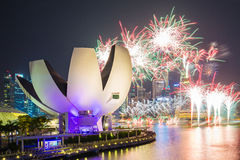 Fireworks of SG50 celebrations in Singapore city, Singapore Stock Image