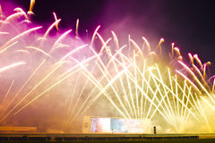 Fireworks in Sha Tin Racecourse Royalty Free Stock Image